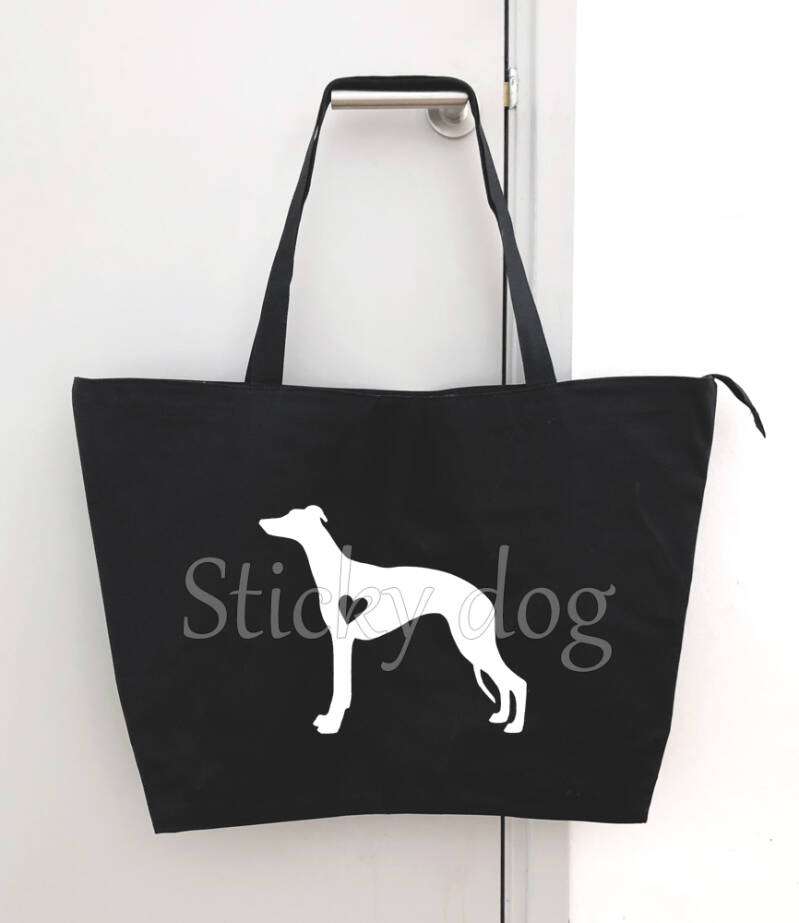 Big shopper bag Whippet with heart dog silhouette