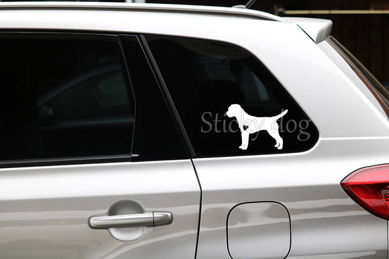Border Terrier with heart silhouette dog sticker