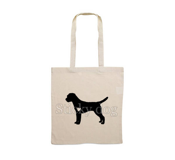 Canvas bag Border Terrier with heart dog silhouette
