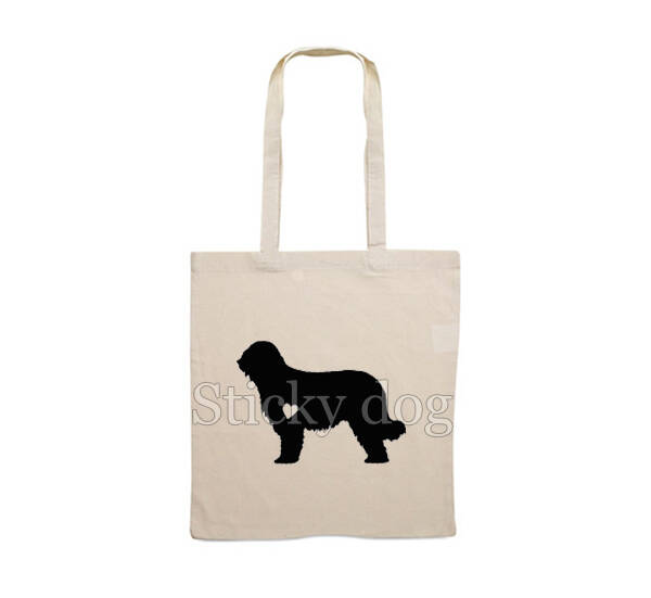 Canvas bag Briard with heart dog silhouette