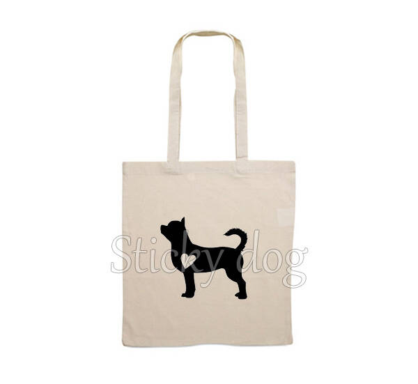 Canvas bag Chihuahua shorthair with heart dog silhouette