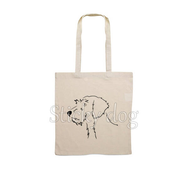 Canvas bag  Wire-haired Dachshund - Teckel dog head drawing