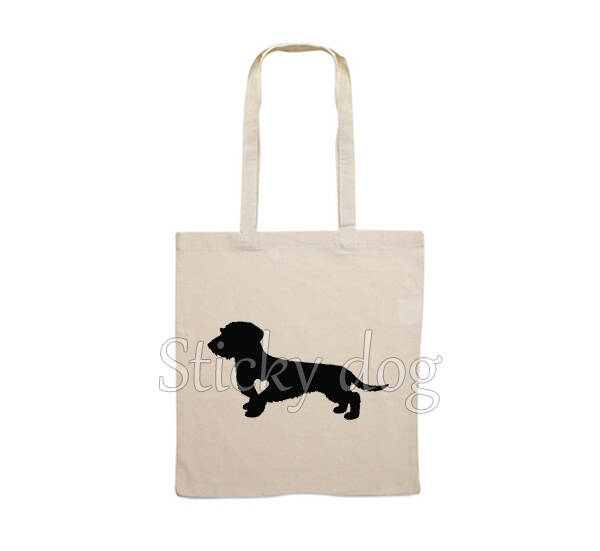 Canvas bag  Wire-haired Dachshund - Teckel with heart dog silhouette