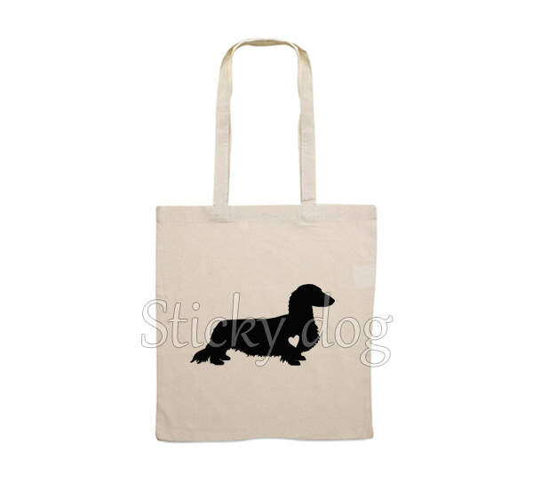 Canvas bag long-haired Dachshund - Teckel with heart dog silhouette
