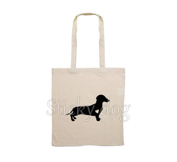 Canvas bag smooth-haired Dachshund - Teckel with heart dog silhouette