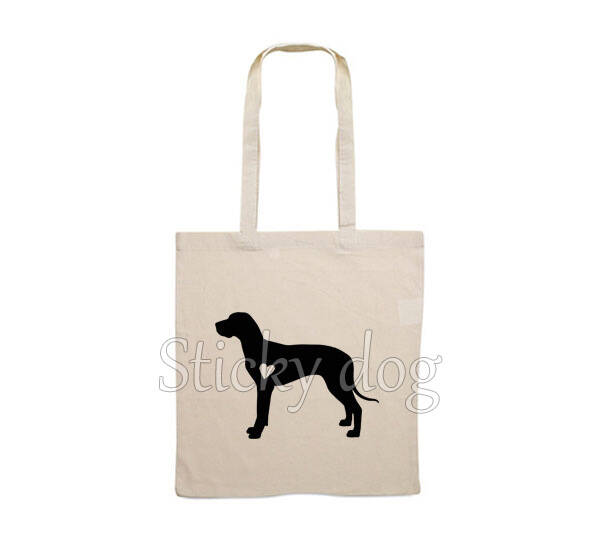 Canvas bag Great Dane with heart silhouette