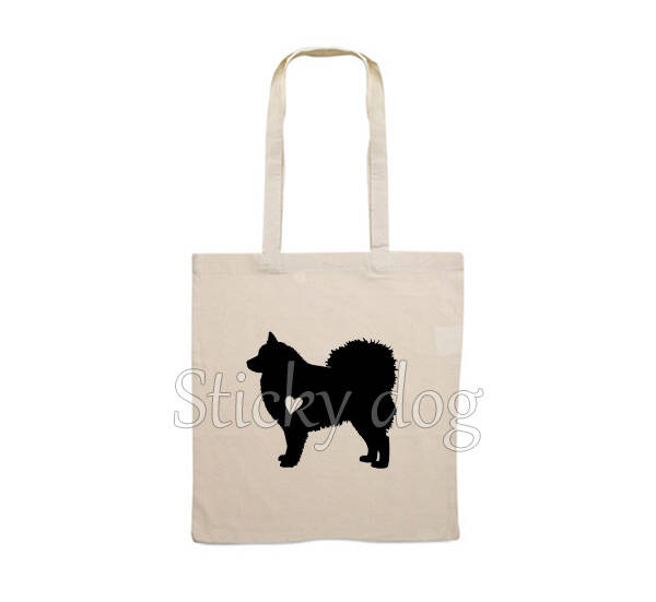 Canvas bag Finnish Lapphund dog with heart silhouette