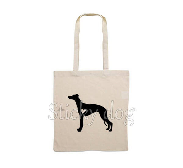 Canvas bag Whippet with heart dog silhouette