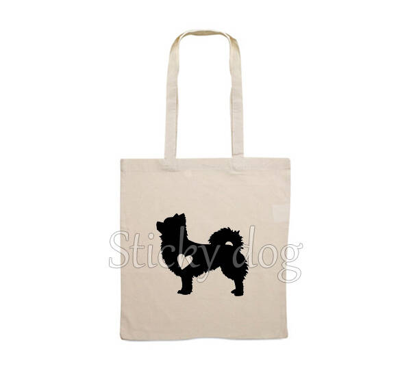 Canvas bag Chihuahua longthair with heart dog silhouette