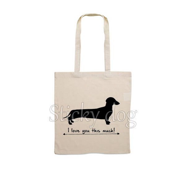 Canvas bag smooth-haired Dachshund - Teckel dog love you this much silhouette