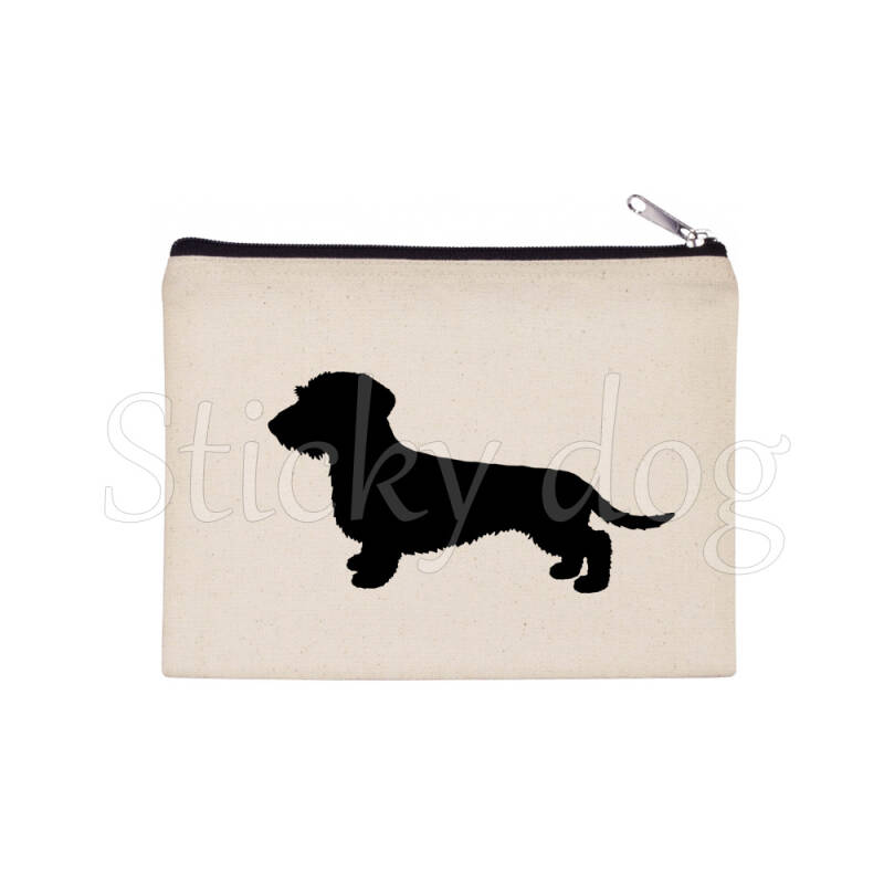 Wire-haired Dachshund - Teckel dog silhouette pencil bag / Beaty case / pouch