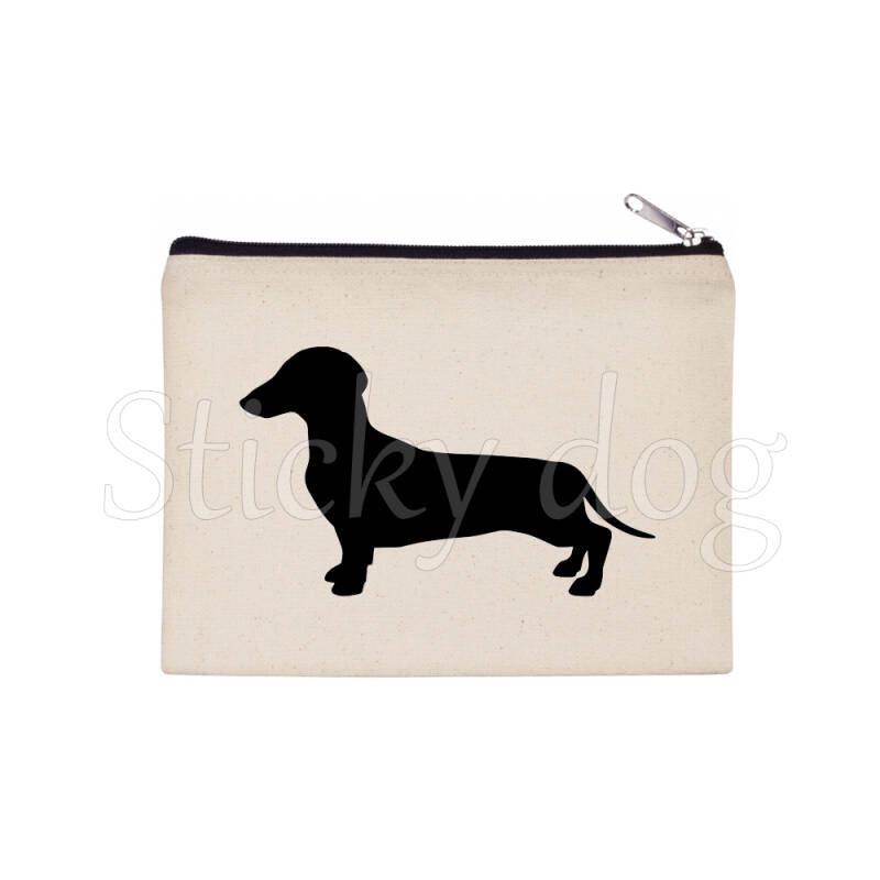 smooth-haired Dachshund - Teckel dog silhouette pencil bag / Beaty case / pouch