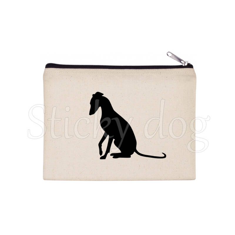 Whippet sitting dog silhouette pencil bag / Beaty case / pouch