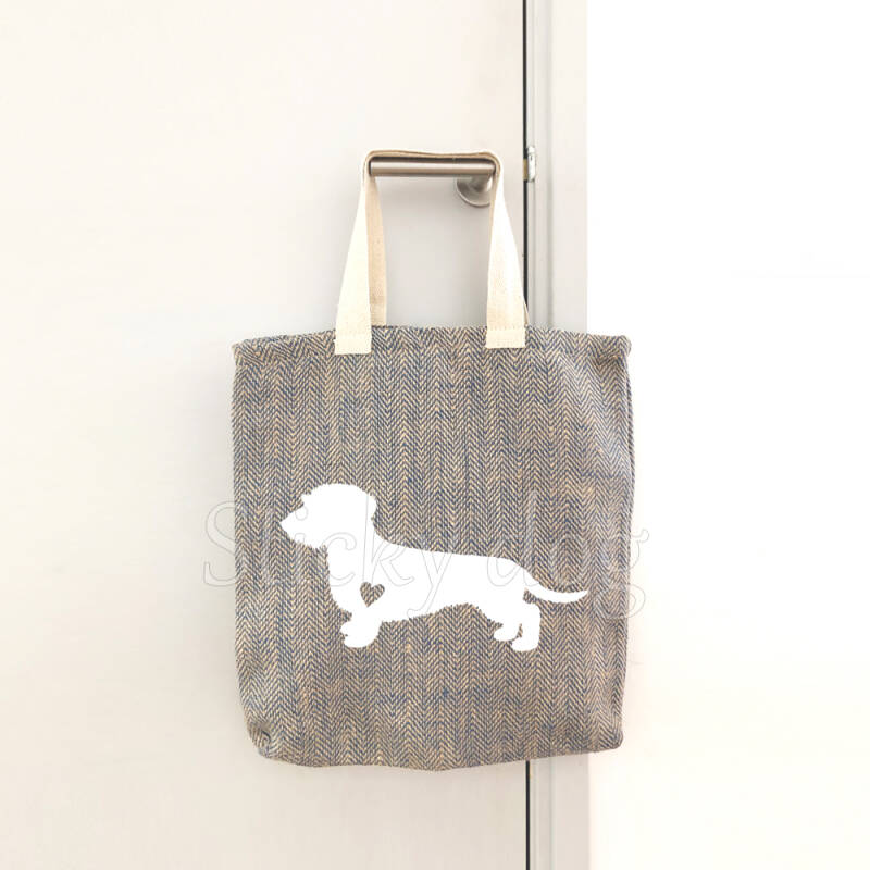 Canvas/jut bag Wire-haired Dachshund - Teckel dog with heart silhouette