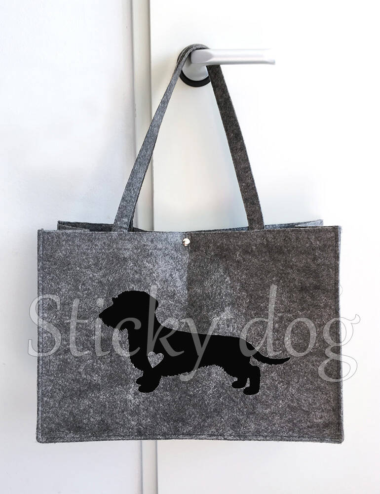 Felt bag  Wire-haired Dachshund - Teckel with heart  dog silhouette