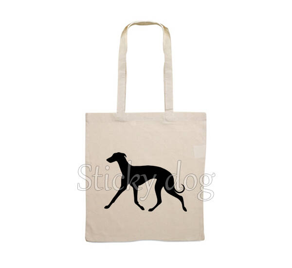 Canvas bag Whippet trot dog silhouette