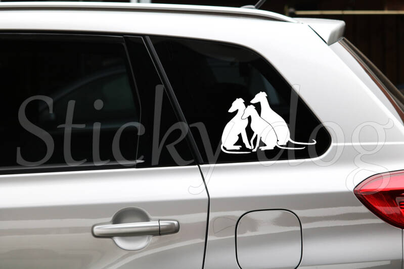 Whippet sitting together Dog silhouette sticker