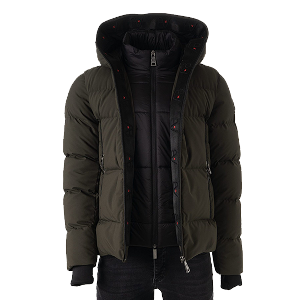 AB LIFESTYLE HOODED DOWN JACKET - LEGER GROEN