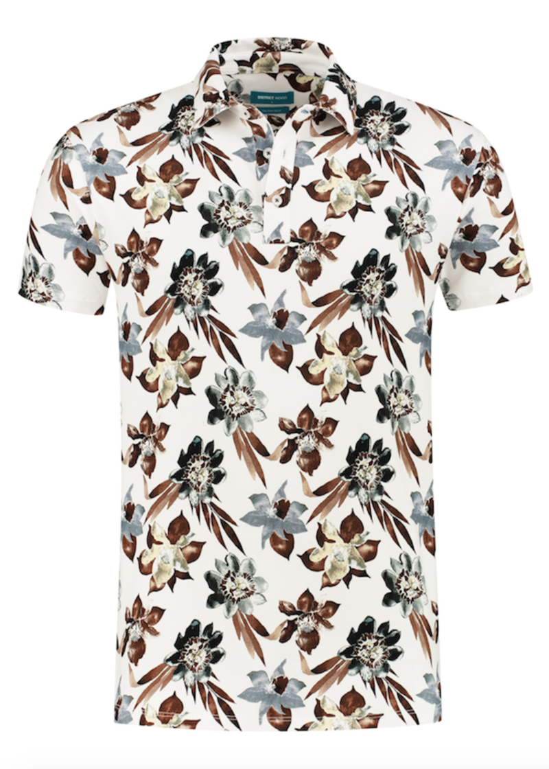 District Indigo Polo Korte Mouw Print Bloemen Wit