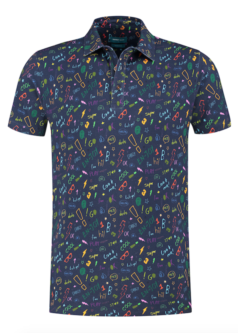District Indigo Polo Korte Mouw Print Navy Blauw
