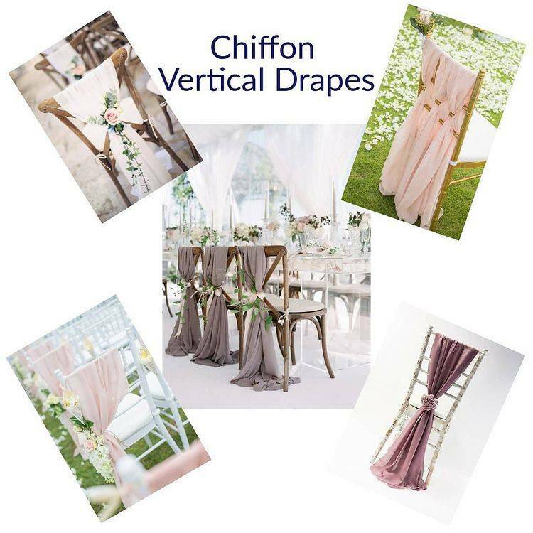 Chiffon vertical/ Weaved Drapes and ruffle hoods - for hire only