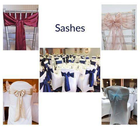Sashes with chair covers - for hire (incl of set up and take down)