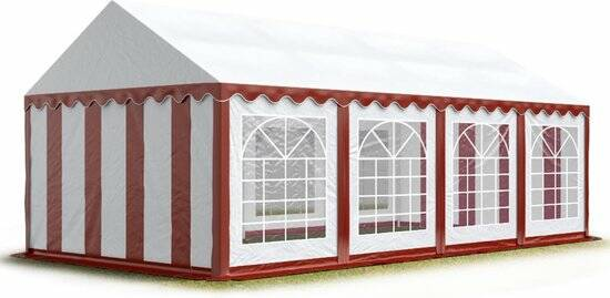 Partytent 4x8 mtr. rood wit