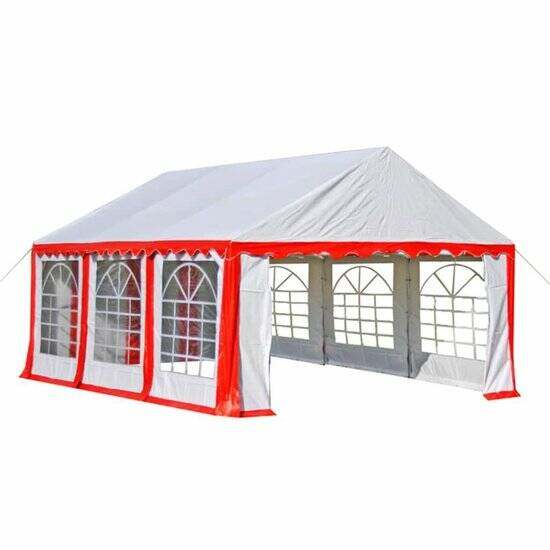 Partytent 3x6 mtr. rood wit