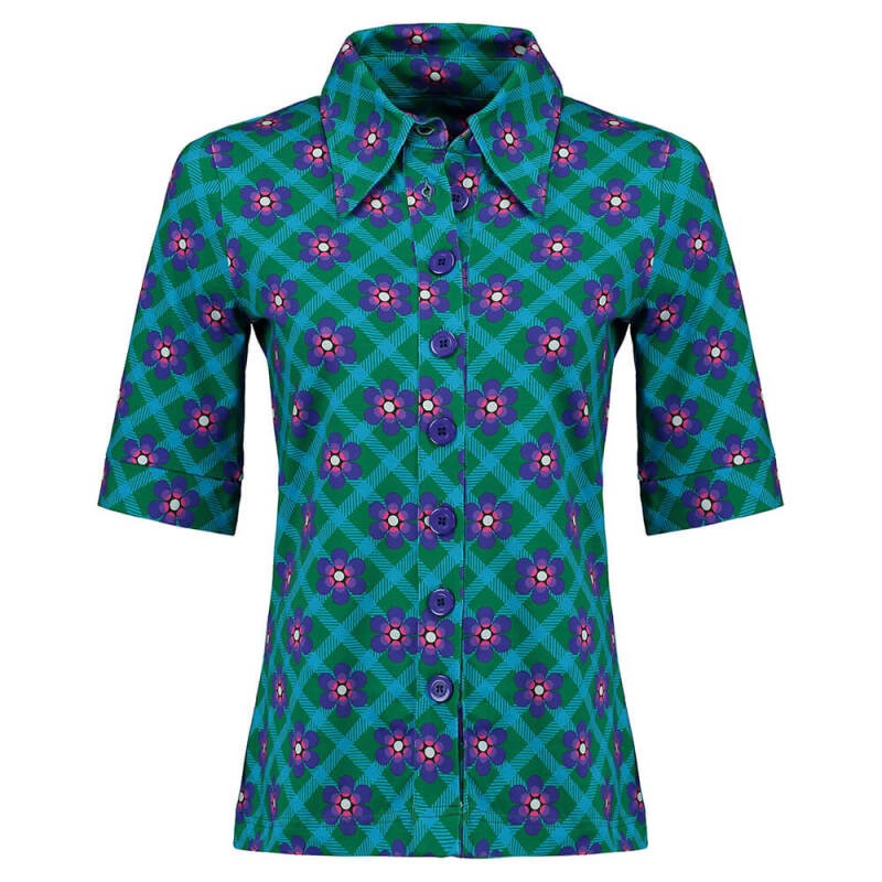 TANTE BETSY BUTTON SHIRT CHEKKIE DAISY