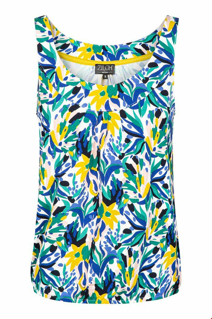 ZILCH TOP MOUWLOOS Bouquet-lime