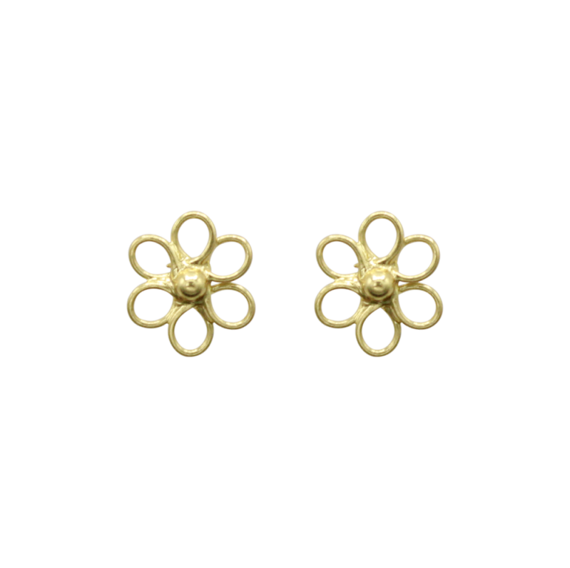 Flower pin pair of earrings