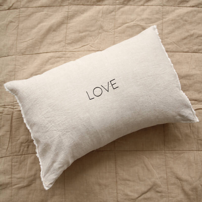 Sand LOVE rectangle cushion with frayed edge