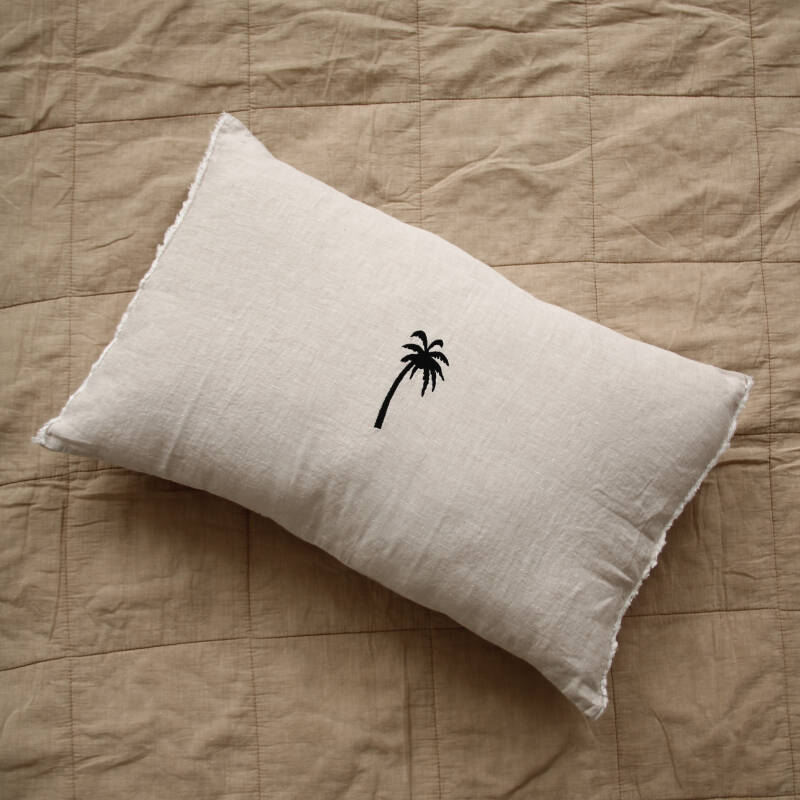Sand PALM rectangle cushion with frayed edge