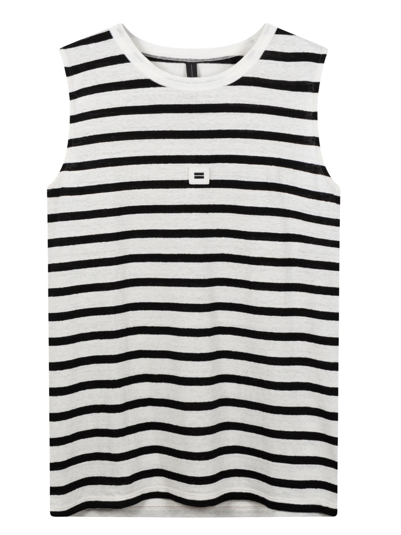 10DAYS Sleeveless top linen stripes