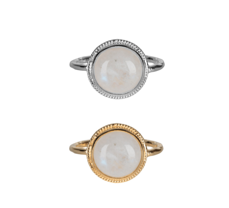 Silver/golden ring moonstone