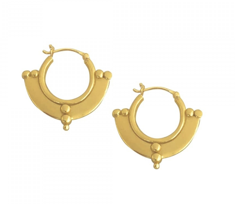 Earring gold half disk dots