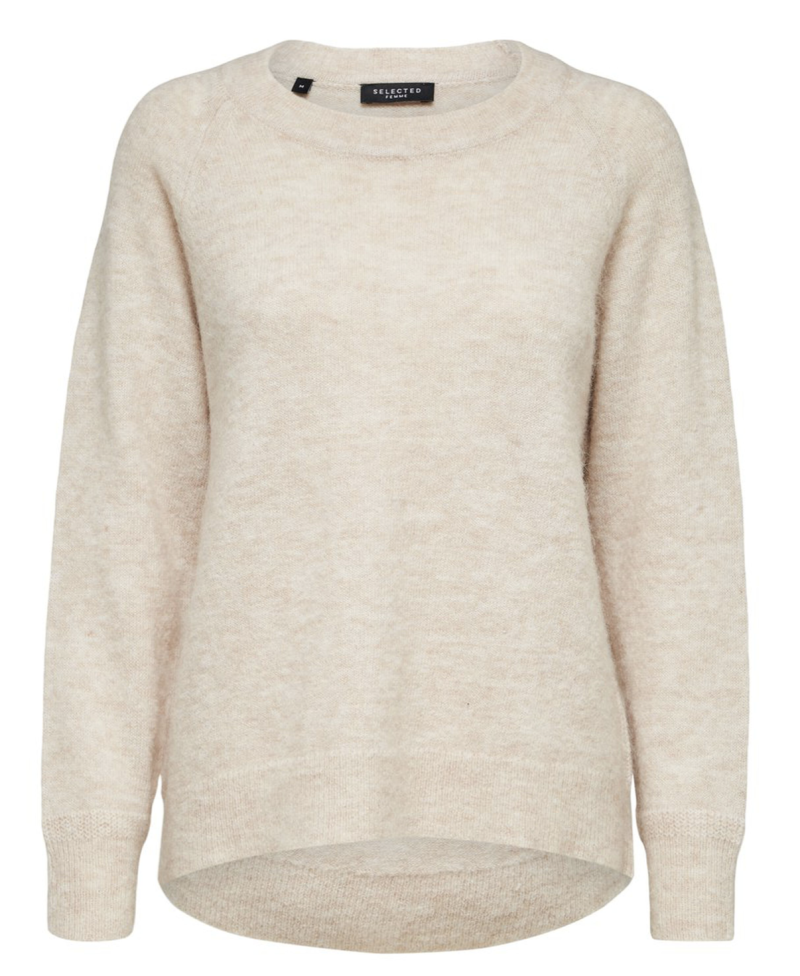 SELECTED Lulu ls knit o-neck birch