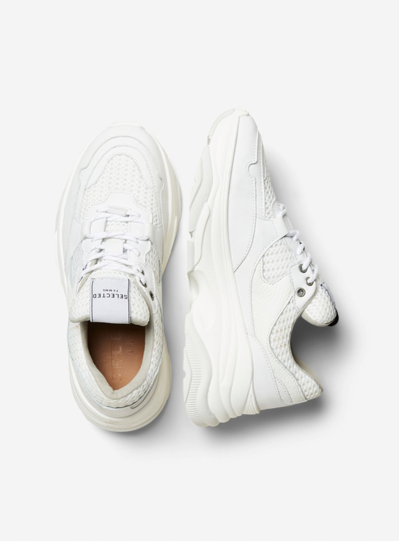 SELECTED White chunky sneaker