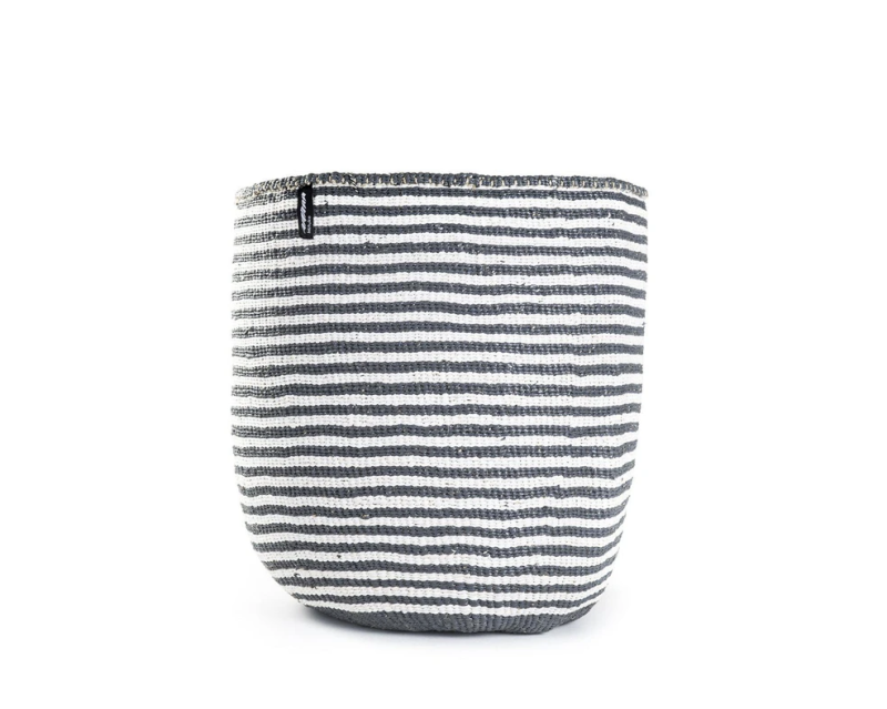 BASKET WITH WHITE AND GREY THIN STRIPES XS-L