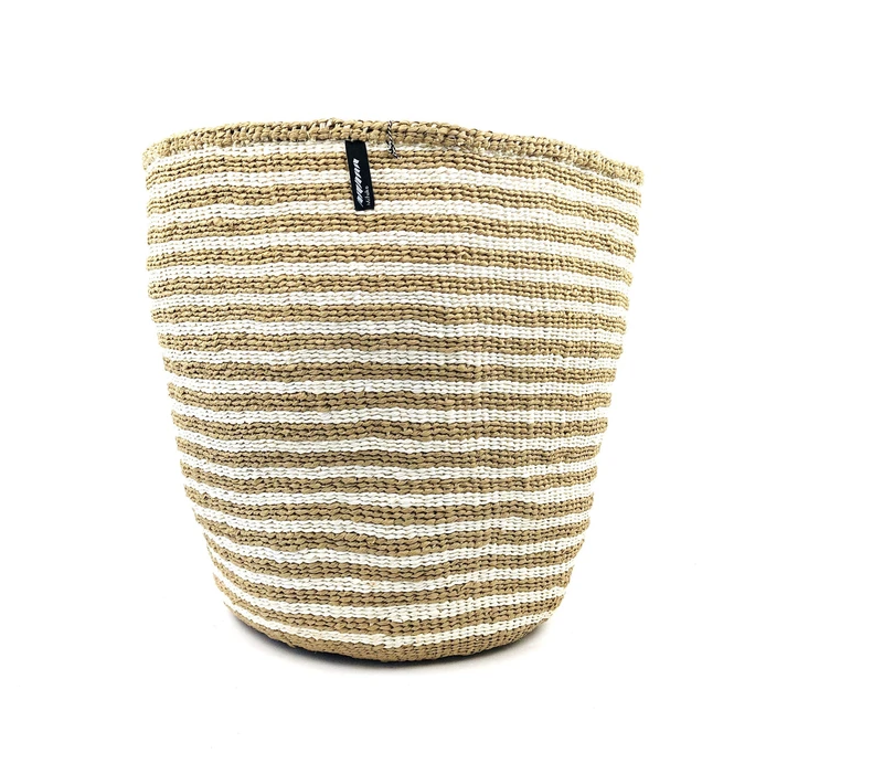 BASKET WITH WHITE AND BROWN THIN STRIPES XS-L