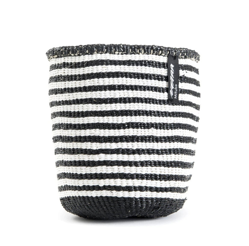 BASKET WITH WHITE AND BLACK THIN STRIPES XS-L