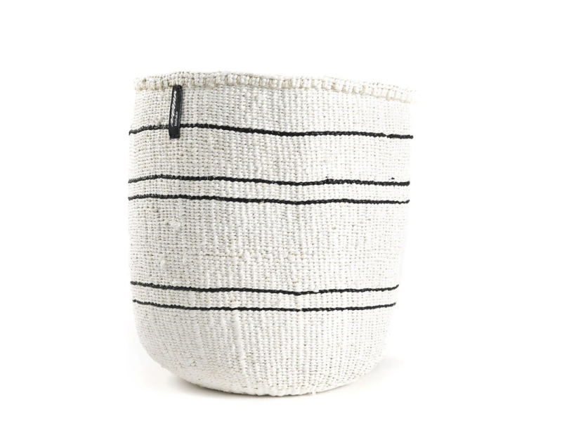 WHITE BASKET WITH 5 THIN BLACK STRIPES XS-S