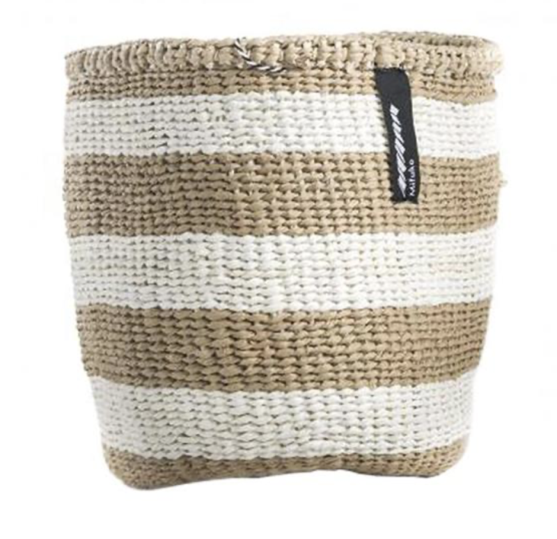 BASKET WITH THICK WHITE AND BROWN STRIPES XS