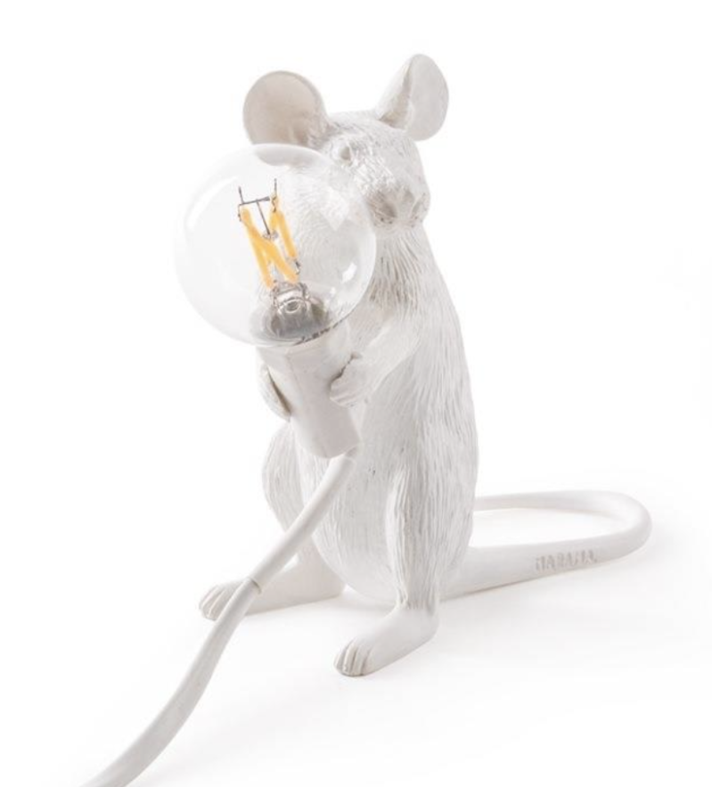 White mouse lamp sitting