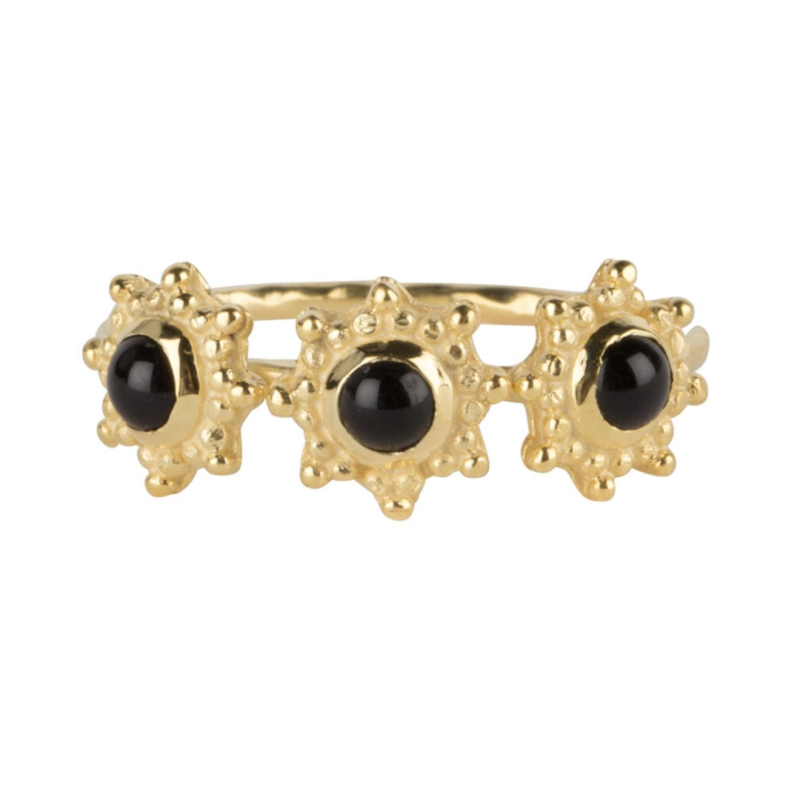 Three antique dotted octagons black onyx ring gold