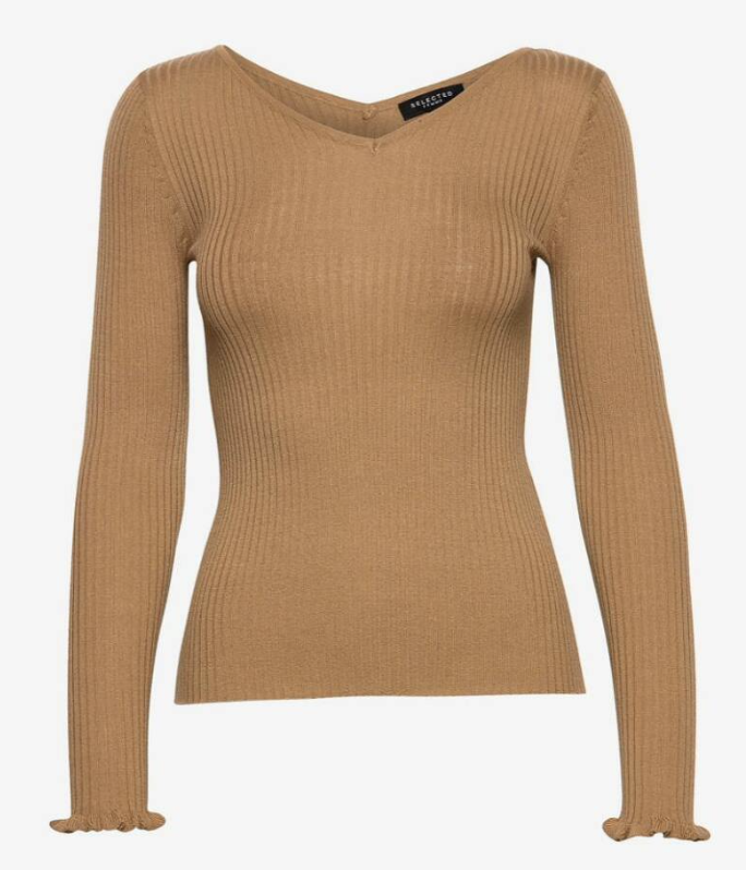 Selected femme costa ls frill knit wide neck