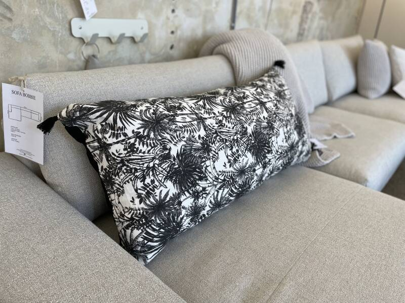 Palm trees cushion long black and white