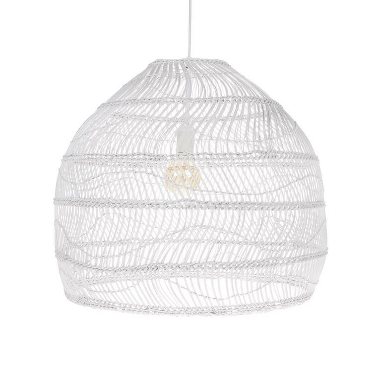 Wicker rottan hanging lamp white