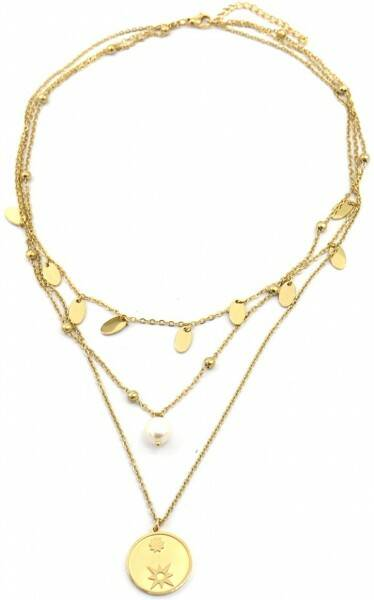 Ketting Coins & Pearl Gold