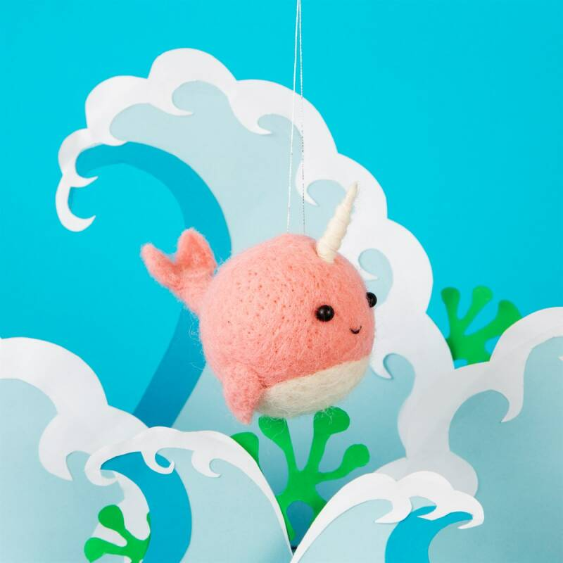 Pink Narwhal Felt Hanging Decoration
